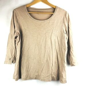Zenergy By Chicos Womens Top Beige Gold 3/4
